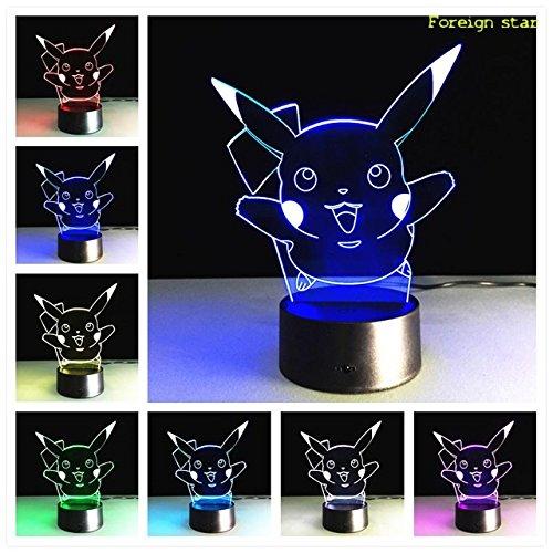 N Pokemon 7Farbe mit einer Fernbedienung GB Pikachu Tischleuchte Leselampe Farbwechsel Nachtlicht Geschenk ()