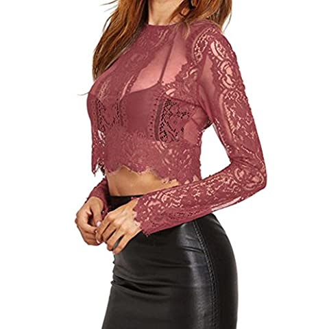 Amlaiworld Femme Chemisier manches longues dentelle Short shirt bustier T-shirts sexy Top Zipper (S, Rouge)