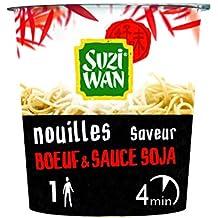SUZI WAN Nouilles instantannées en pot - Cup Noodle - saveur boeuf et sauce soja 61g - prêtes en 4 min - Pack de 8 unités