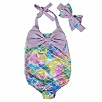The Beach Stop Baby Toddler One Piece Swimming Costumes (Mermaid Purple, 2-3 Years)