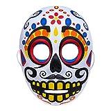 Day of the Dead Masque En P¨lastique Design Sugar Skull Coloré Inquiétant (Blanc)