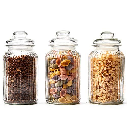 Ezoware set di 3 barattoli di vetro, contenitori per la conservazione alimenti con coperchio per cucina, bagno, decorazioni, caramelle, biscotti, riso, zucchero, farina, pasta - 1300 ml