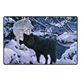 Bennigiry Black And White Wolfs Bereich Teppich Teppich Rutschfeste Eintrag Bodenmatte Fußmatten für Wohnzimmer Schlafzimmer 152,4 x 99 cm