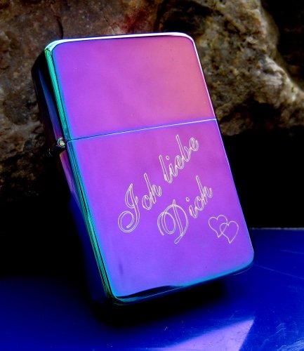 Cool Benzinfeuerzeug Rainbow / Spectrum + kostenlose Gravur Ich liebe Dich + Herz , für den besten Papa der Welt, für die beste Mama der Welt