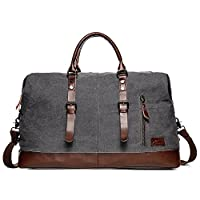 Fresion Large Canvas Weekender Bag PU Leather Holdalls Carry On Duffel Tote Bags Unisex Travel Holdall(Grey)