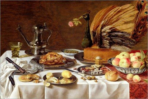 Alubild 180 x 120 cm: Stillleben mit einem Pfauenkuchen von Pieter Claesz/Bridgeman Images -