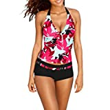 Damen Bademode , Frashing Frauen große gedruckte Tankini Sets mit Jungen Shorts Bademode Hängenden hals badeanzug Bikini Set Bandage Push-Up Padded Bra Beach Swimwear Swimsuit Bathing (M, rot)