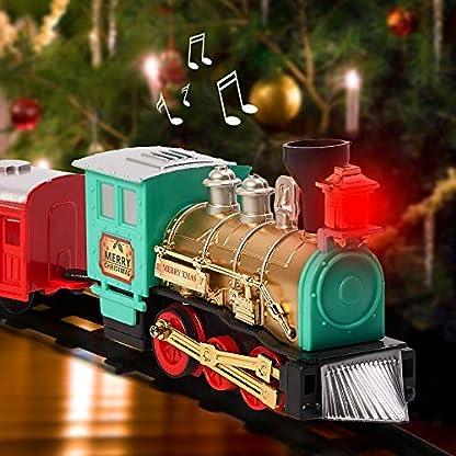 Juguete de Tren Eléctrico Navideño de 11 piezas – Sonidos y Luces realistas, decoración festiva de Navidad y Entretenimiento.