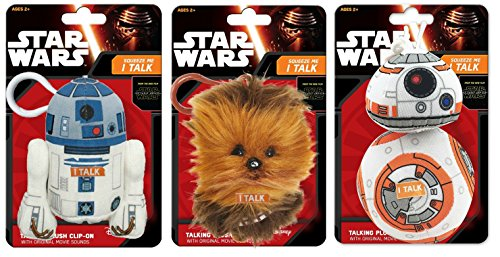 Star Wars Set of 3 Official Mini Soft Talking Plush Toys Figure Characters 10cm Tall with Clip-On Keychain - Pack Includes R2-D2 Chewbacca and BB-8 - Three Pack