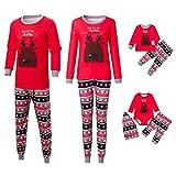 Riou Weihnachten Set Kinder Baby Kleidung Pullover Familie Pyjamas Nachtwäsche Passende Outfits Set Schlafanzug PJS Homewear für Eltern Junge Mädchen Baby Kleidung (L, Mom Rot)