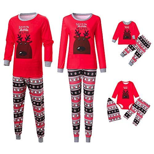 Riou Weihnachten Set Kinder Baby Kleidung Pullover Familie Pyjamas Nachtwäsche Passende Outfits Set Schlafanzug PJS Homewear für Eltern Junge Mädchen Baby Kleidung (S, Dad Rot)