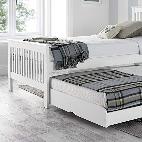Happy Beds Toronto 3' Single Size Renowned Rubber Wooden White Guest Bed Frame