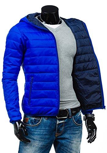 BOLF Herrenjacke Herren Jacke Steppjacke Moderne Jacke Kapuze LIBLAND 3583 Mittelblau