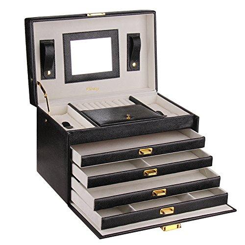 Grande boîte à bijoux avec 4 rails et cadenas (noir)