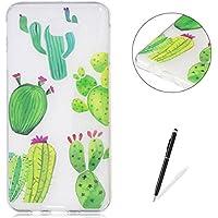 KaseHom Coque Samsung Galaxy J5 Prime TPU Housse Cas [Gratuit Noir Stylet] Dessin animé Désign Cristal Clair Anti-rayures Couverture Silicone Durable Protecteur Coquille-Cactus vertCactus vert