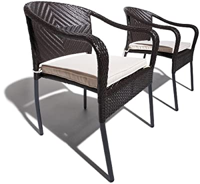 Strathwood Padre Stapelbarer Armlehnstuhl aus wetterfestem Korbgeflecht, 2 Stück