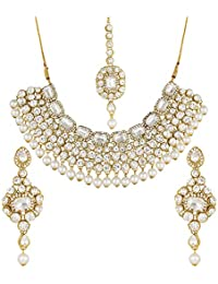 Aadita Designer Wedding Bridal Traditional Gold Plated Heavy Royal Kundan Diamond And Pearl Necklace Set With...