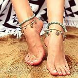 Yean Boho Fußkettchen Set Türkis Knöchel Armband Gold Blume Anhänger Fußkette für Frauen und Mädchen