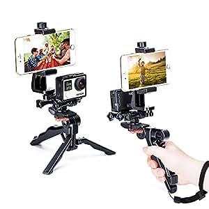 Zeadio Ergonomique Handheld Grip Stabilisateur Trépied Selfie Stick Poignée Steadicam Kits, Compatible avec Tous Les GoPro et iPhone Samsung et Téléphones, 2Angles de Prise de Vue simultanément