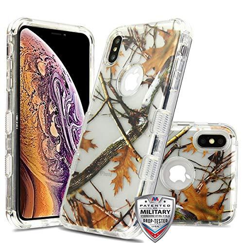 hutzhülle für Apple iPhone XS Max/XS Plus, glasklar/Eichenbraun mit Ästen und Blättern ()