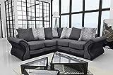 Montana Brand New Fabric Corner Sofa Living Room Suite BLACK/GREY (Black/Grey)