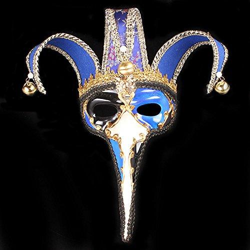 Kc-1981 K&C handgemachte volle Gesichtsmaske Halloween Prom Party Hochzeit Venetian Masquerade Maske Joker Maske blau