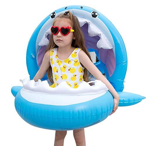wimmring mit Sonnendach Abnehmbarem für den Pool, Baby Float Shark Aufblasbares Poolspielzeug für Kinder im Alter von 6-36 Monaten ()