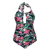 PinkLu Bademode Damen Tankini, Sexy Neckholder-Bikini Blumendruck Niedrige Taille Schlank Elegant Und Bequem Urlaub Am Meer Mode Blauereinteiliger Badeanzug