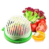 Cortador de ensalada de plástico ABS apto para cortar verduras, frutas, carne en 60 segundos, uso como colador, no necesita tabla de cortar ensalada para hacer alimentos saludables