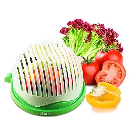 Cenow Salatschneider, 60 Sekunden Salatschneider Food Grade ABS Bequem für Hacken Gemüse, Obst, Fleisch in 60-Sekunden-Einsatz als A Sieb No Cutting Board benötigt Salat Chopper gesund-Zubereiter (Salat Schüssel Salat)