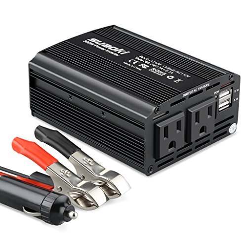 Suaoki - 300W Inversor de Corriente, DC 12V, 220V-240V AC salida, Dual Puertos USB 5V/2.1A (Diseño de Aluminio, con Pinzas de Coche Batería y Mechero de Coche) Negro
