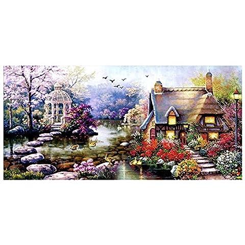 Yontree Kit Broderie Point De Croix Cabane du jardin Décoration Salon 68cm x 38cm
