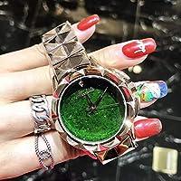 NICEWATCH Reloj de Acero Inoxidable con Reloj de Acero Inoxidable, Reloj de Estrella, Tendencia de la Moda, Personalidad de Oro Rosa