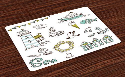Abakuhaus Nautisch Platzmatten, Marine Elemente Fisch Leuchtturm Anker Schiff Badeanzug Möwen Lifebuoy Print, Tiscjdeco aus Farbfesten Stoff für das Esszimmer und Küch, Hellgrün Gelb