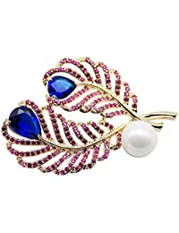 Dainika Aabharanam | Beautifully Crafted Micro-Pavé Cubic Zircon & Resin Pearl Feathers Design Gold Colour Brooch...