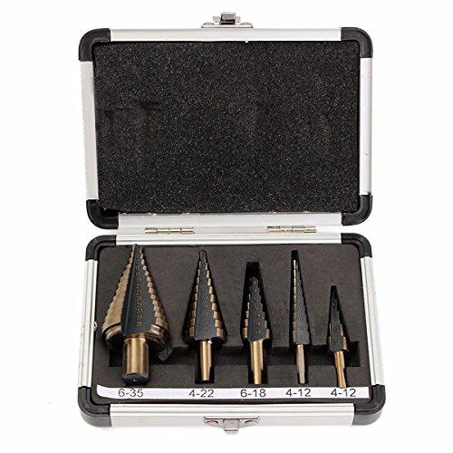 lexpon Lot de 5foret étagé professionnel avec valise en aluminium boîte Mèche conique HSS schälbo hrer Métal Forets