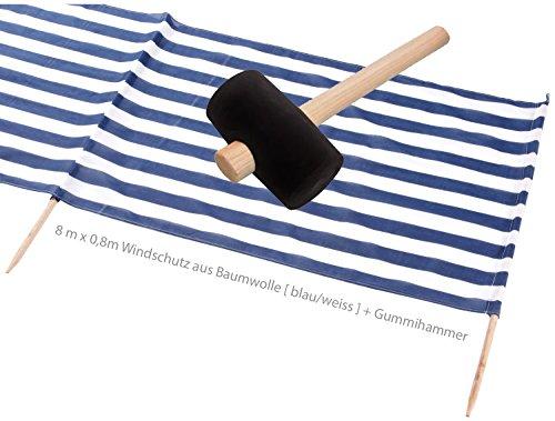 Idena Beach Wind Screen/Windschutz 8 Meter x 80 cm [ blau/weiss ] Holz/Baumwolle + Gummihammer Strandurlaubs-Set