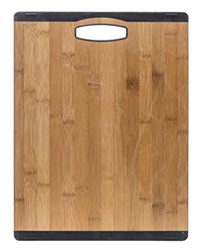 Sagaform 5017107 Schneidebrett, Bambus / Silikon, 40 x 30 x 1,50 cm, holz / schwarz