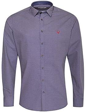 Gweih & Silk Trachtenhemd Body Fit Eugen Mehrfarbig in Blau und Rot