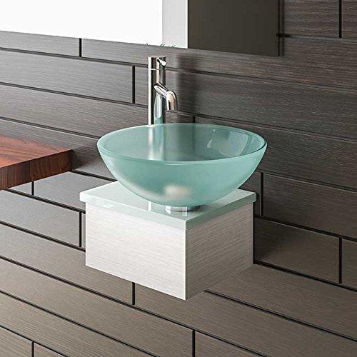 Alpenberger Satinierte Glaswaschschale Ø 38 cm mit Satinierte Waschtischplatte 32 cm
