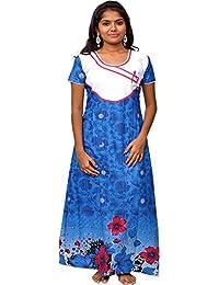 AISNIGHA Womens BLUE Print Cotton Nighty 5063