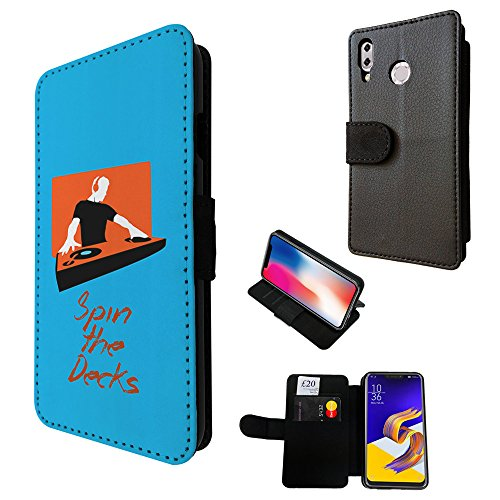 002058 - Cool Dj Spin The Decks Mixer Sound Music Club Dance Design Asus Zenfone Max (M1) ZB555KL TPU Leder Brieftasche Hülle Flip Cover Book Wallet Credit Card Kartenhalter Case