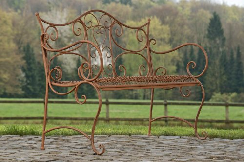 CLP Gartenbank TARA, Landhaus-Stil, Eisen lackiert, Design antik,113 x 47 cm, bis zu 5 Farben wählbar Antik Braun - 5