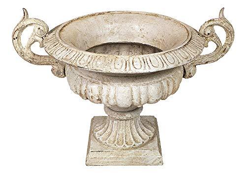 zeitzone Französische Vase Henkel Pflanztopf Gusseisen Schwer Amphore Antik-Stil Weiß