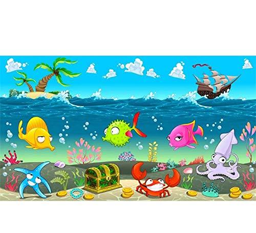 Rureng Foto Murale Personalizzata Foto 3D Wallpaper Camera Cartoon Mare Mondo Pesce Barca Tesoro Pittura 3D Murales Carta Da Parati Per Pareti 3 D-350X250Cm