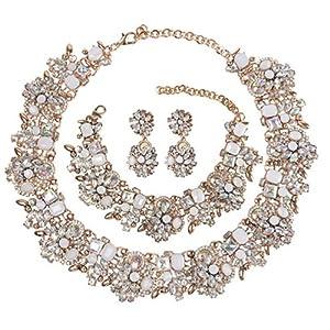 Holylove 6 Farbe Damen Statement Halskette Ohrringe Armband Costume Schmuck für Damen Neuheit Mode 1 Set mit Geschenkbox