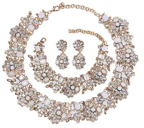 Holylove Damen Statement Halskette Weiß, Costume Schmuck für Damen Neuheit Mode Halskette Ohrringe Armband 1 Set mit Geschenkbox- HL8041B White (Mode Ohrring Und Halskette Set)