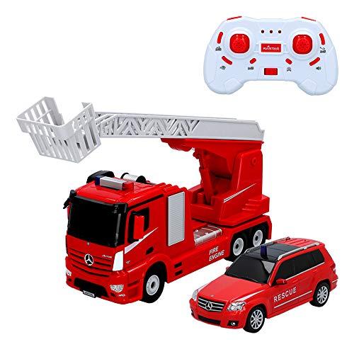 Rastar - Set camión teledirigido Mercedes Benz Antos con coche de bomberos (46364)
