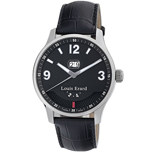 Louis Erard 1931 82224AA02.BDC51 44mm Automatic Stainless Steel Case Black Calfskin Anti-Reflective Sapphire Men's Watch