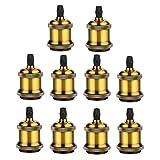 GreenSun 10 Stück Edison E27 Antique Alu Lampenfassung Schwarz Deckenfassung Fassung Socket Lampenfuss Retro Vintage Halter fuer Haengeleuchte Deckenleuchte Adapter Beleuchtung Sockel G01